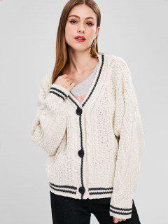 Cable Knit Button Up V Neck Cardigan - White