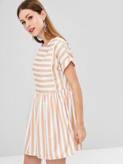 Striped Cut Out Straight Dress - Multi L