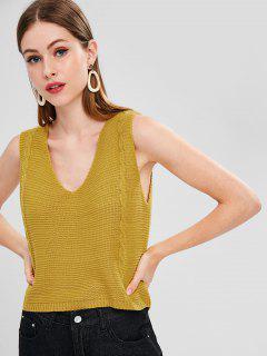 Cable Knit V Neck Vest Sweater - Golden Brown