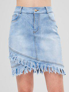 Frayed Hem Asymmetric Denim Skirt - Jeans Blue L