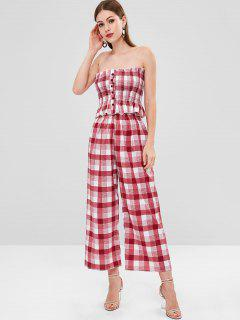 Plaid Smocked Two Piece Set - Multi L