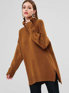 Turtleneck High Low Sweater - Brown