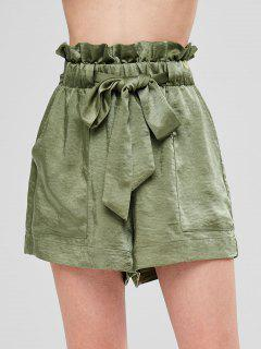 Ruffles Belted Loose Shorts - Army Green M