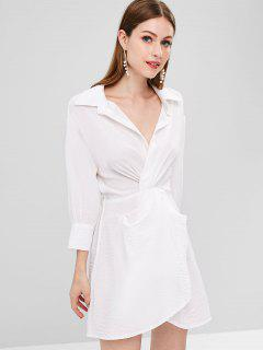 Plunge Twist Shirt Dress - White