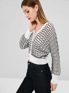 Scalloped V Neck Loose Knit Cardigan - White