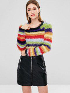Pull Nombril Exposé Coloré En Mohair - Multi