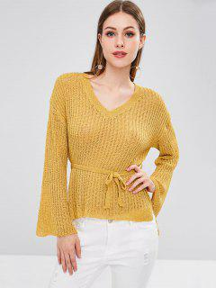 High Low Slit V Neck Sweater - Bright Yellow