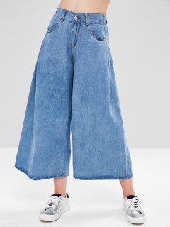 Pantalones Vaqueros De Pierna Ancha De Cintura Alta - Azul Denim M