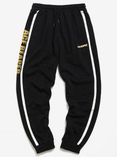 Side Stripes Letter Taping Jogger Pants - Black L