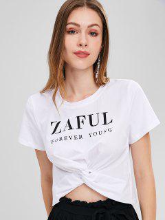 T-shirt Nombril Exposé Tordu Logo Imprimé - Blanc Xl