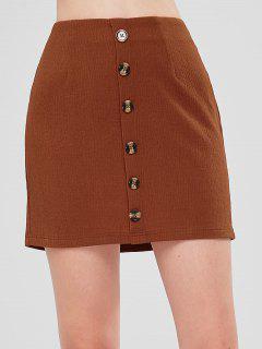 ZAFUL High Waist Buttoned Mini Skirt - Caramel M