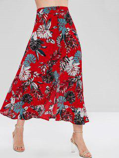 Palm Leaves Buttoned Slit Skirt - Cherry Red L