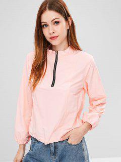 ZAFUL Quarter Zip Drawcord Pullover Lightweight Jacket - Pink M