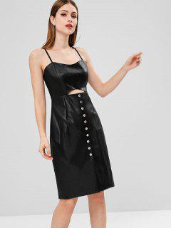 PU Leather Button Up Cami Dress - Black M
