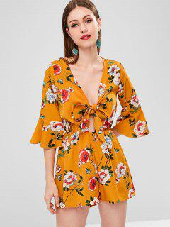Tie Front Floral Wide Leg Romper - School Bus Yellow S