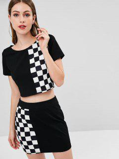 ZAFUL Checked Crop Tee And Skirt Set - Black M