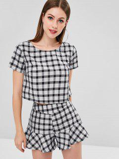 ZAFUL Plaid Ruffles Shorts Set - Black S
