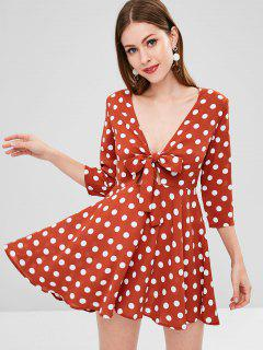 Tie Front Polka Dot Mini Dress - Chestnut Red M