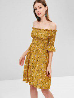 Smocked Off Shoulder Floral Dress - Orange Gold L