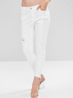 Jeans Pitillo Rasgados - Blanco L