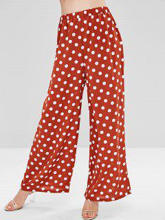 Polka Dot Wide Leg Pants - Chestnut Red S