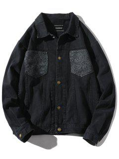 Patch Pocket Back Hand With Arrow Print Jacket - Black L