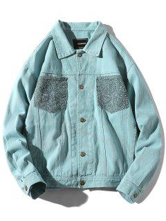Patch Pocket Back Hand With Arrow Print Jacket - Light Blue S