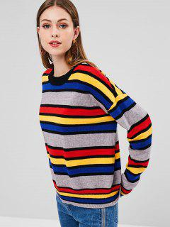 Color Block Loose Sweater - Multi