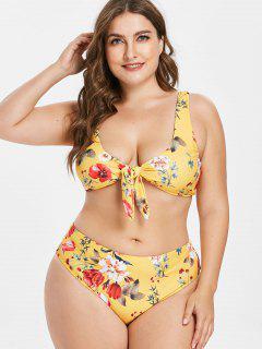 Plus Size Floral Knotted Bikini Set - Bright Yellow 2x