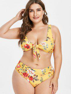 Plus Size Floral Knotted Bikini Set - Bright Yellow 1x