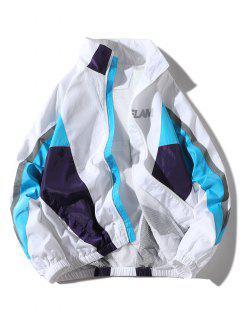 Blouson Coupe-vent De Grande Taille En Blocs De Couleurs Et Poches Obliques  - Blanc 4xl