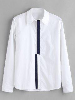 ZAFUL Color Block Concealed Placket Shirt - White S