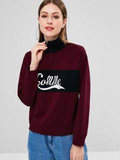 Striped Half Zip Graphic Sweatshirt - Red Wine L