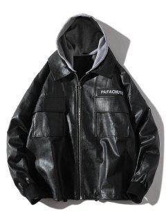 Faux Leather Detachable Hat Casual Jacket - Black S