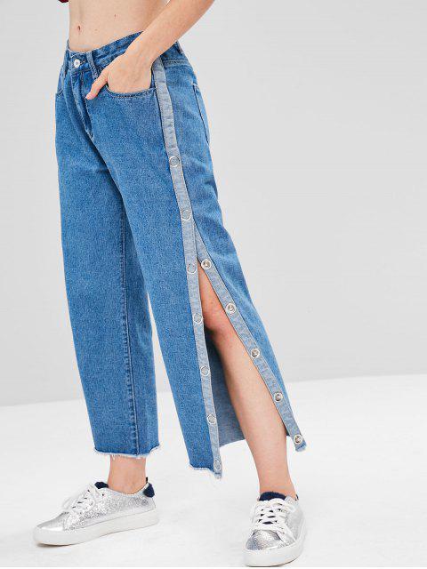 women's Side Slit Frayed Hem Boyfriend Jeans - DENIM DARK BLUE M Mobile
