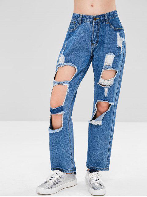 ladies Distressed Cut Out Boyfriend Jeans - DENIM DARK BLUE S Mobile