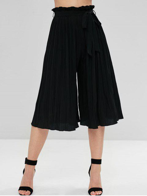 buy Belted Pleated Wide Leg Pants - BLACK ONE SIZE Mobile