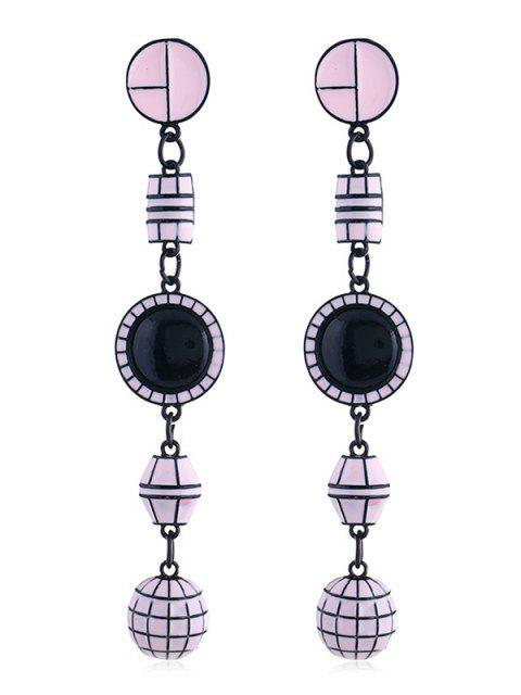 Forma geométrica largos colgantes pendientes - Rosado  Mobile