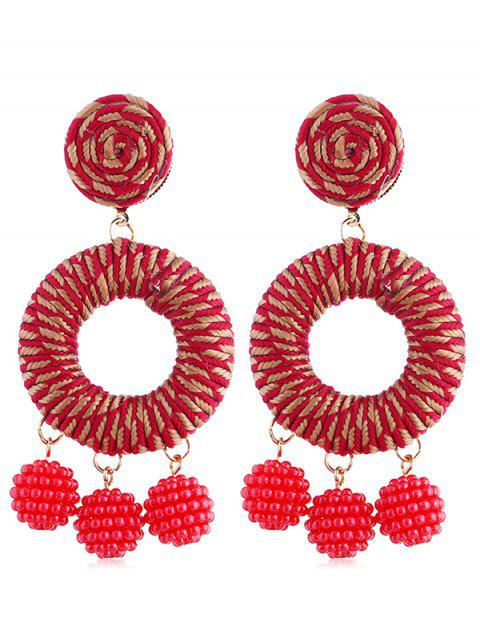 ladies Bohemian Beads Ball Drop Earrings - RED  Mobile