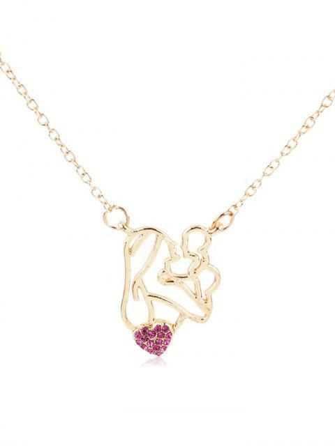 online Rhinestone Figure Heart Pendant Necklace - ROSE RED  Mobile