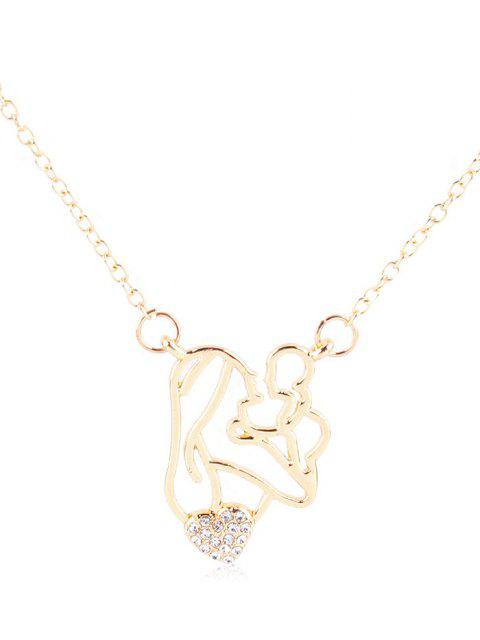 shops Rhinestone Figure Heart Pendant Necklace - WHITE  Mobile