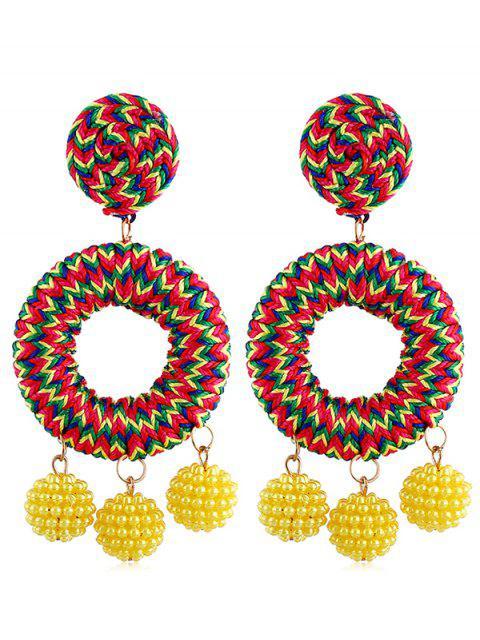 Bohemian Beads Ball Drop Earrings - Amarillo  Mobile