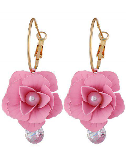 shop Artificial Pearl Floral Design Rhinestone Earrings - PINK  Mobile