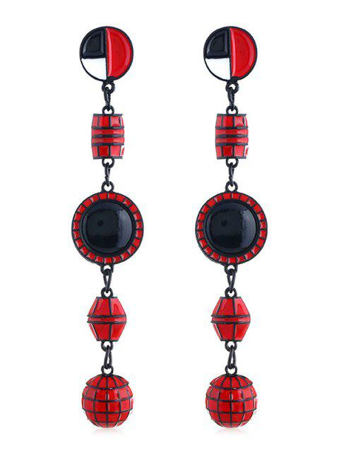 Forma geométrica largos colgantes pendientes - Rojo  Mobile