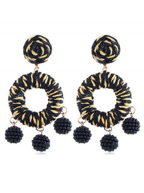 Boucles d'oreilles bohème en perles de rocaille - Noir  Mobile