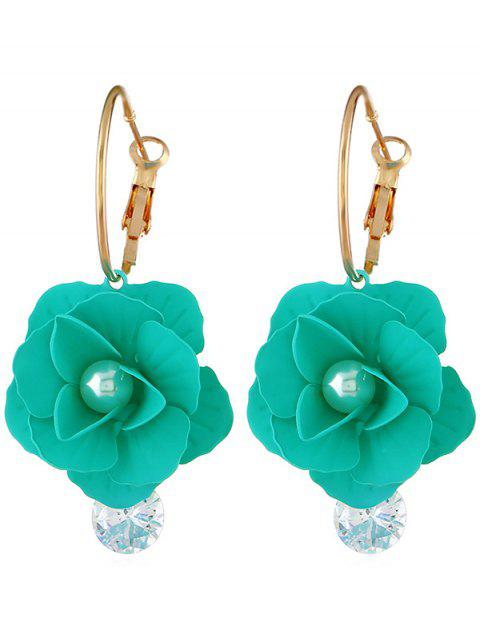 women's Artificial Pearl Floral Design Rhinestone Earrings - AQUAMARINE  Mobile