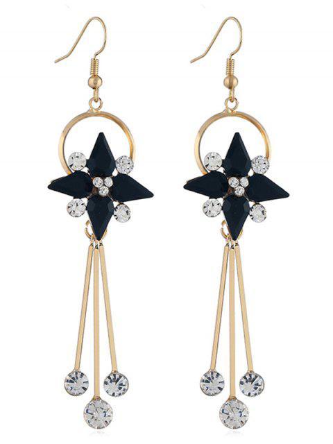 outfit Floral Shape Rhinestone Tassel Hook Earrings - BLACK  Mobile