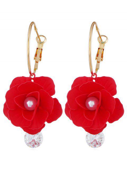 Künstliche Perle Blumenmuster Strass Ohrringe - Rot  Mobile