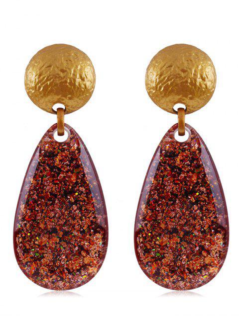 trendy Ethnic Teardrop Resin Earrings - CHESTNUT RED  Mobile