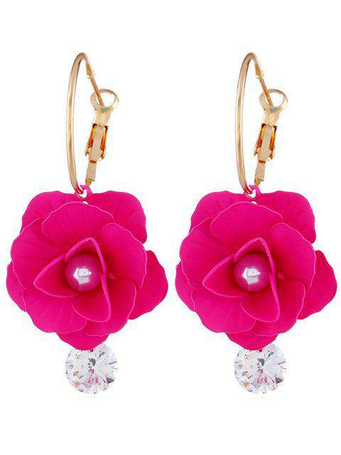 Pendientes artificiales de diamantes de imitación de perlas artificiales - Rosa Roja  Mobile